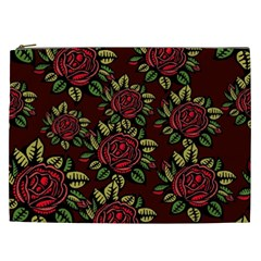 A Red Rose Tiling Pattern Cosmetic Bag (xxl)