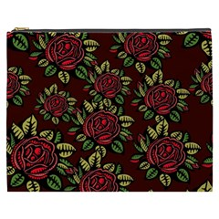 A Red Rose Tiling Pattern Cosmetic Bag (XXXL)