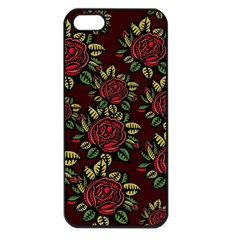 A Red Rose Tiling Pattern Apple iPhone 5 Seamless Case (Black)