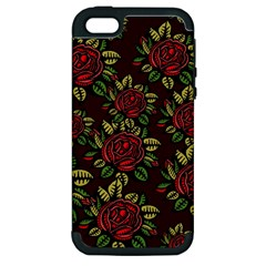 A Red Rose Tiling Pattern Apple Iphone 5 Hardshell Case (pc+silicone)