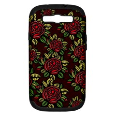 A Red Rose Tiling Pattern Samsung Galaxy S Iii Hardshell Case (pc+silicone)