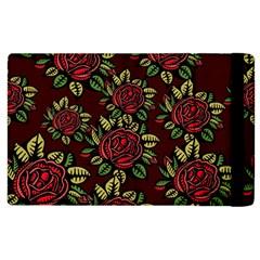 A Red Rose Tiling Pattern Apple Ipad 2 Flip Case