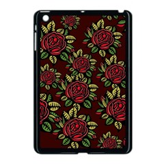 A Red Rose Tiling Pattern Apple Ipad Mini Case (black)