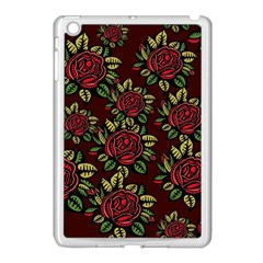 A Red Rose Tiling Pattern Apple iPad Mini Case (White)