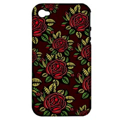 A Red Rose Tiling Pattern Apple Iphone 4/4s Hardshell Case (pc+silicone)