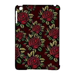 A Red Rose Tiling Pattern Apple iPad Mini Hardshell Case (Compatible with Smart Cover)