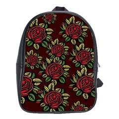 A Red Rose Tiling Pattern School Bags (xl)
