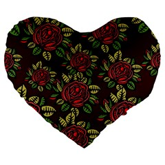 A Red Rose Tiling Pattern Large 19  Premium Heart Shape Cushions