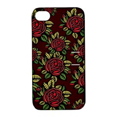 A Red Rose Tiling Pattern Apple iPhone 4/4S Hardshell Case with Stand