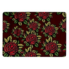 A Red Rose Tiling Pattern Samsung Galaxy Tab 10.1  P7500 Flip Case