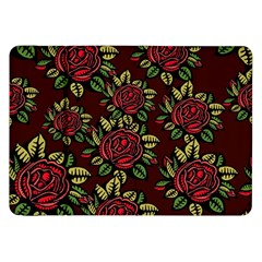 A Red Rose Tiling Pattern Samsung Galaxy Tab 8.9  P7300 Flip Case
