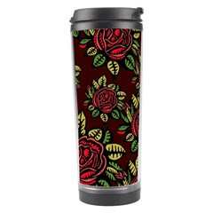 A Red Rose Tiling Pattern Travel Tumbler