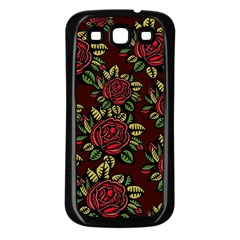 A Red Rose Tiling Pattern Samsung Galaxy S3 Back Case (black)