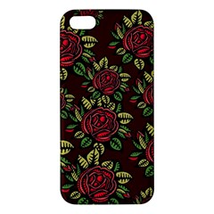 A Red Rose Tiling Pattern iPhone 5S/ SE Premium Hardshell Case