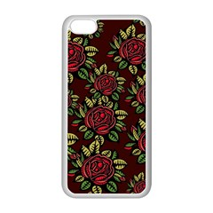 A Red Rose Tiling Pattern Apple Iphone 5c Seamless Case (white)