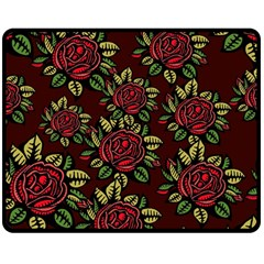 A Red Rose Tiling Pattern Double Sided Fleece Blanket (Medium)