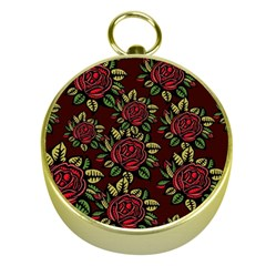 A Red Rose Tiling Pattern Gold Compasses
