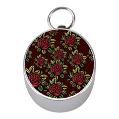 A Red Rose Tiling Pattern Mini Silver Compasses