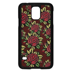 A Red Rose Tiling Pattern Samsung Galaxy S5 Case (Black)