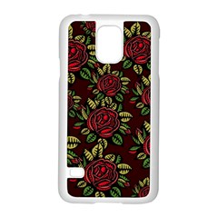 A Red Rose Tiling Pattern Samsung Galaxy S5 Case (White)