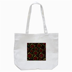A Red Rose Tiling Pattern Tote Bag (white)