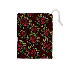 A Red Rose Tiling Pattern Drawstring Pouches (medium)