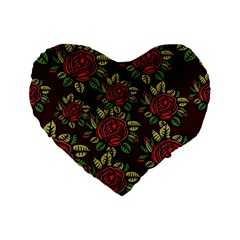 A Red Rose Tiling Pattern Standard 16  Premium Flano Heart Shape Cushions
