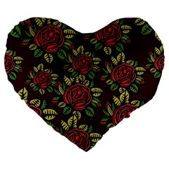 A Red Rose Tiling Pattern Large 19  Premium Flano Heart Shape Cushions