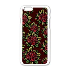 A Red Rose Tiling Pattern Apple Iphone 6/6s White Enamel Case