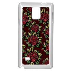 A Red Rose Tiling Pattern Samsung Galaxy Note 4 Case (White)