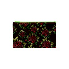 A Red Rose Tiling Pattern Cosmetic Bag (XS)