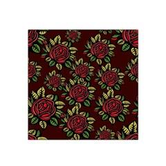 A Red Rose Tiling Pattern Satin Bandana Scarf