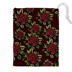 A Red Rose Tiling Pattern Drawstring Pouches (xxl)
