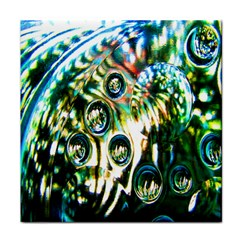 Dark Abstract Bubbles Tile Coasters