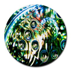 Dark Abstract Bubbles Round Mousepads