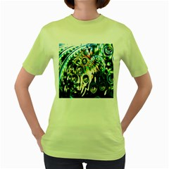 Dark Abstract Bubbles Women s Green T-Shirt