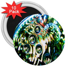 Dark Abstract Bubbles 3  Magnets (10 Pack)