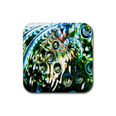 Dark Abstract Bubbles Rubber Square Coaster (4 pack)