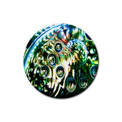 Dark Abstract Bubbles Rubber Coaster (round)