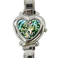 Dark Abstract Bubbles Heart Italian Charm Watch