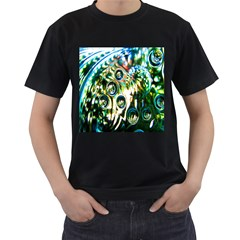 Dark Abstract Bubbles Men s T-Shirt (Black) (Two Sided)