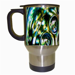 Dark Abstract Bubbles Travel Mugs (White)