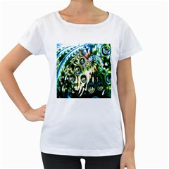 Dark Abstract Bubbles Women s Loose-Fit T-Shirt (White)