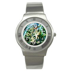 Dark Abstract Bubbles Stainless Steel Watch