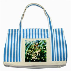 Dark Abstract Bubbles Striped Blue Tote Bag