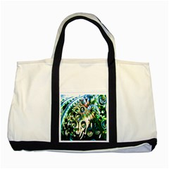 Dark Abstract Bubbles Two Tone Tote Bag