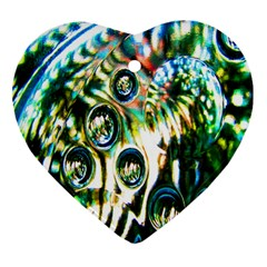 Dark Abstract Bubbles Heart Ornament (two Sides)