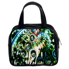 Dark Abstract Bubbles Classic Handbags (2 Sides)