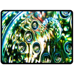 Dark Abstract Bubbles Fleece Blanket (Large)
