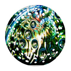 Dark Abstract Bubbles Round Filigree Ornament (Two Sides)